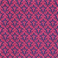 blue hot pink Damask ornament cotton fabric by Andover USA - Ornament Fabric - Fabric - kawaii shop modeS4u