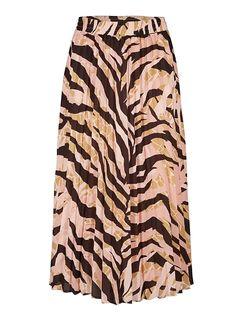 Earths Texture Zebra Print Pleated Midi Skirt | Oliver Bonas Earth Texture, Spirit Clothing, Oliver Bonas, Pleated Midi Skirt, Zebra Print, Tie Dye Skirt, Brown, Skirts, Pink