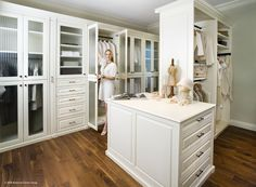 Luxury Closets - White finish with center island. From The Closet Doctor http://www.closet-doctor.com/closets/luxury/closet-organizer-gallery