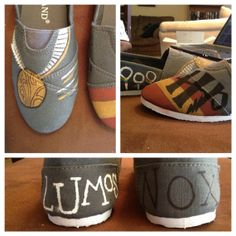 Painted Harry potter toms by Forthehalibut on Etsy i wonder if i could do this myself?