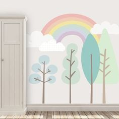 Rainbow Appearing Behind Trees Baby Room Wall Mural Pastel   Etsy
