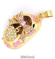 Gold Bow Shoes 8GB 2 colors crystals USB 2.0 Flash Memory Pen Drive Pendant for Necklace