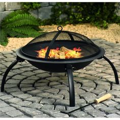 Fire Pit With Mesh Cover And Cooking Grill   Black U2013 The UKu0027s No. 1