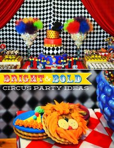 Inspired by clowns, Olívia of Invento Festa styled a Bright & Bold Circus Party for Vitor's second birthday! Vibrant desserts, bold patterns and gold a