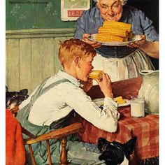 . . . And Then Ma, or Grandma Brought 'Em In - Norman Rockwell