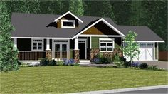 House Plan 96233   Craftsman Ranch Plan with 1497 Sq. Ft., 2 Bedrooms, 2 Bathrooms, 2 Car Garage