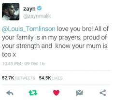 Zayn just tweeted louis No words You will be missed johanna