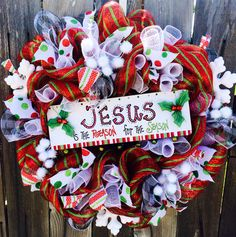 Jesus is the Reason for the Season Christmas Deco Mesh Wreath