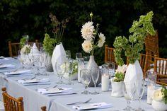 déco table automne bouquets de fleurs et vases