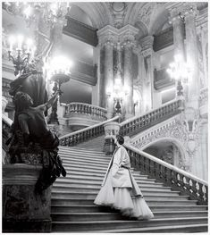 Dior's tulle ballgown on the grand staircase at the Paris Opera. Photo Clifford Coffin 1948