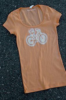 Alicia Buelow BIKER CHICK Scoop Neck Tee in Tangerine: $28.00 #women #cycling #sport #fashion #health #fitness
