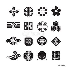 벡터 일러스트(편집용 파일):Asian ornament icon, korean, chinese, japanese vector set