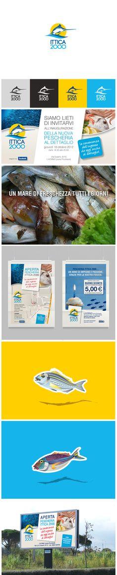 Un mare di freschezza tutti i giorni. Pesce fresco, logo design, illustrazioni, poster, Livorno, Brand Identity Design: https://www.facebook.com/StudioGraficem?ref=hl