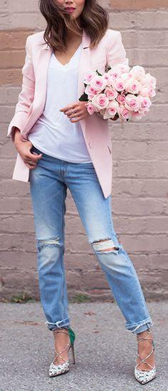 Spring Fashion • Pink Blazer, Boyfriend Jeans n' Heels • Street CHIC