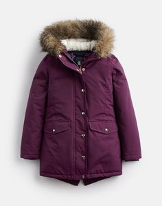 aab8f7b6f0c Joules UK WILLOW Older Girls TECHNICAL ALL WEATHER PARKA 3-12yr ITALIAN PLUM