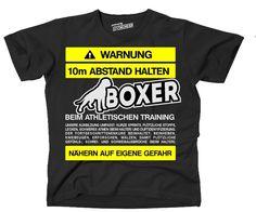 T-Shirt WARNUNG ABSTAND BOXER TRAINING lustiger Spruch Siviwonder