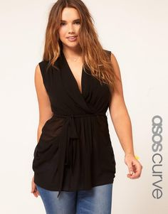 ASOS Curve | ASOS CURVE Exclusive Belted Wrap Top at ASOS