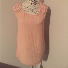 Chiffon too with Lace Detail Light Pink, has belt loops, long enough for leggings! Charlotte Russe Tops Blouses