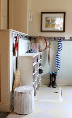 Mud room with painted log. Living With Kids Home Tour in South Dakota, featuring Carey Denman. Bookcase Shelves, Shoe Shelves, Fashion Room, Kids House, Mudroom, Small Spaces, Kitchen Decor, New Homes, Living Room