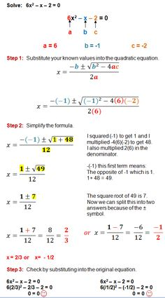 The Quadratic Formula is a great method for solving any quadratic equation. These step by step examples and practice problems will guide you through the process of using the quadratic formula. Gcse Math, Maths Algebra, Math Math, Algebra Activities, College Math, College School, Maths Solutions, Math Notes, Physics And Mathematics