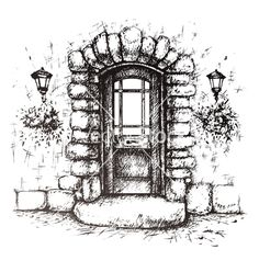Illustration about Freehand drawing of old front door ,vector drawing. Illustration of front, doorstep, drawing - 48998264 Architecture Drawing Sketchbooks, Architecture Concept Drawings, Ink Pen Drawings, Easy Drawings, Art Du Croquis, Stippling Art, Interior Design Sketches, Illustration, Urban Sketching