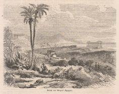 "Agrigento, 1860  Ansicht von Girgenti, incisione xilografica; mm.155x115, margini quasi assenti, tratta da ""Die Illustrierte Belt"""