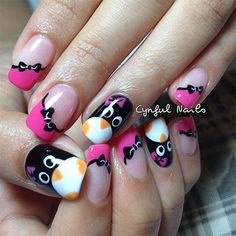 I am showcasing simple Penguin nail art designs and ideas of that would suit your little or big sharp nails. Get Nails, Love Nails, Pretty Nails, Hair And Nails, Simple Nail Art Designs, Nail Polish Designs, Cute Nail Designs, Winter Nail Art, Winter Nails