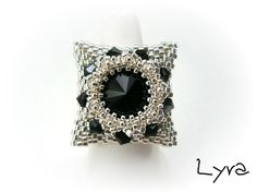 "Beaded Bead ring PATTERN ""Masja"" de Vyolina Lyra"