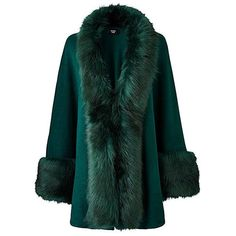 JOANNA HOPE Faux-Fur Trim Cape (115 BRL) ❤ liked on Polyvore featuring outerwear, green cape, evening cape, cape coat, faux fur trimmed cape and green cape coat