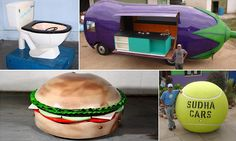 The wacky vehicles are the brain child of car lover Sudhakar Yadav (pictured, next to his tennis ball car), from Hyderabad, India, who has become famous around the world for his quirky vehicles.