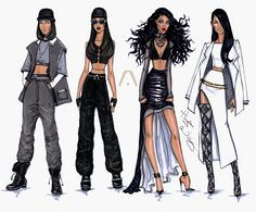 Hayden Williams Fashion Illustrations   The Evolution of Aaliyah by Hayden Williams