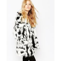 ASOS Coat In Mono Faux Fur ($74) ❤ liked on Polyvore featuring outerwear, coats, multi, white coat, asos, white fake fur coat, imitation fur coats and tall coats
