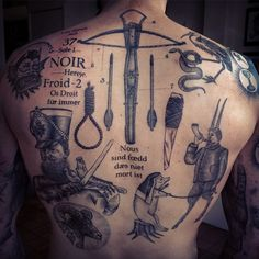 Scripts, shank and noose fresh, rest healed for David. So far.. #tattoos…