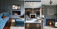 """Painting the paneling in darker colors like navy or slate grey is more contemporary"""", adds Hampton. """"Plus it can be used when there are no other original features in the room."""""""