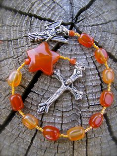 Pocket Rosary from Reg Agate star bead: rosary by RosaryDivine