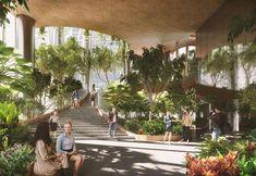 The new forest-skyscraper project by Carlo Ratti and Bjarke Ingels in Singapore Mall Design, Big Design, Plaza Design, Landscape Architecture Design, Green Architecture, Mix Use Building, Green Building, Bjarke Ingels Architecture, Eco City
