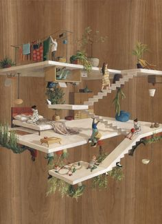 Terraces, a surreal artwork painted on wood panel.