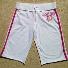 Victoria's Secret Pink Shorts Victoria's Secret Pink sweat shorts that are super cute with pink written across the back in big raised letters!! They also have stripes down both sides. These are in great condition!!! PINK Victoria's Secret Shorts