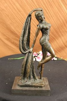 VINTAGE LARGE ART DECO DANCER DIMITRI CHIPARUS BRONZE SCULPTURE SIGNED FIGURE