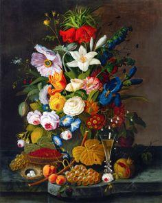 Severin ROESEN Abundant Bouquet with Pomegranate c. 1850-1855