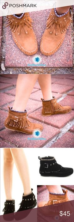 The GEMMA fringe Booties - WHISKEY Which girl doesn't like Mocassins? Super fun fringe & studs make this adorable shoe super darling. Vegan suede. Super versatile. Can be worn with almost any outfit. ‼️NO TRADE, PRICE FIRM‼️ Bellanblue Shoes Moccasins