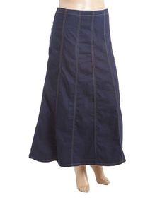 Loving this Dark Indigo Denim Maxi Skirt - Plus on #zulily! #zulilyfinds