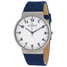 Skagen Ancher White Dial Blue Cloth Men's Watch SKW6098