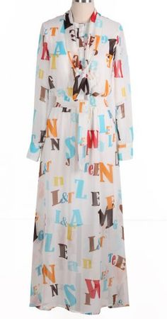 White Long Sleeve Multi Letters Print Chiffon Dress pictures