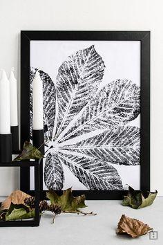 Herbst DIY - Stoffdruck mit Laub. Elegant gestaltet, einfaches aber schönes Geschenk im Herbst.