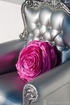 silver chair with rose pillow. Got the rose pillow, now I just need the chair Pillos, Catty Noir, Wedding Of The Year, Cafe Chairs, Everything Pink, Pantone Color, Queen, Cool Furniture, Painted Furniture