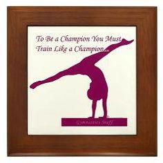 Gymnastics Framed Tile - Champion... Plenty of gymnastics designs to choose from at www.GymnasticsTees.com