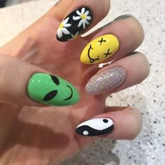 nail makeup nail art nailart nail designs inc nail makeup harley gardens blue prom dress makeup nail design makeup games nail art designs makeup nailart Edgy Nails, Grunge Nails, Funky Nails, Stylish Nails, Swag Nails, Funky Nail Art, Halloween Acrylic Nails, Best Acrylic Nails, Acrylic Nail Designs