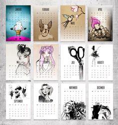 un superbe calendrier signé Sarah Woodrow, dont le style se reconnaît au premier coup d'œil : j'adore ses créations !