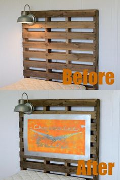 This is a DIY on the vintage sign which is awesome!  I also love the pallet headboard!  How great for a boy's room!!!!!